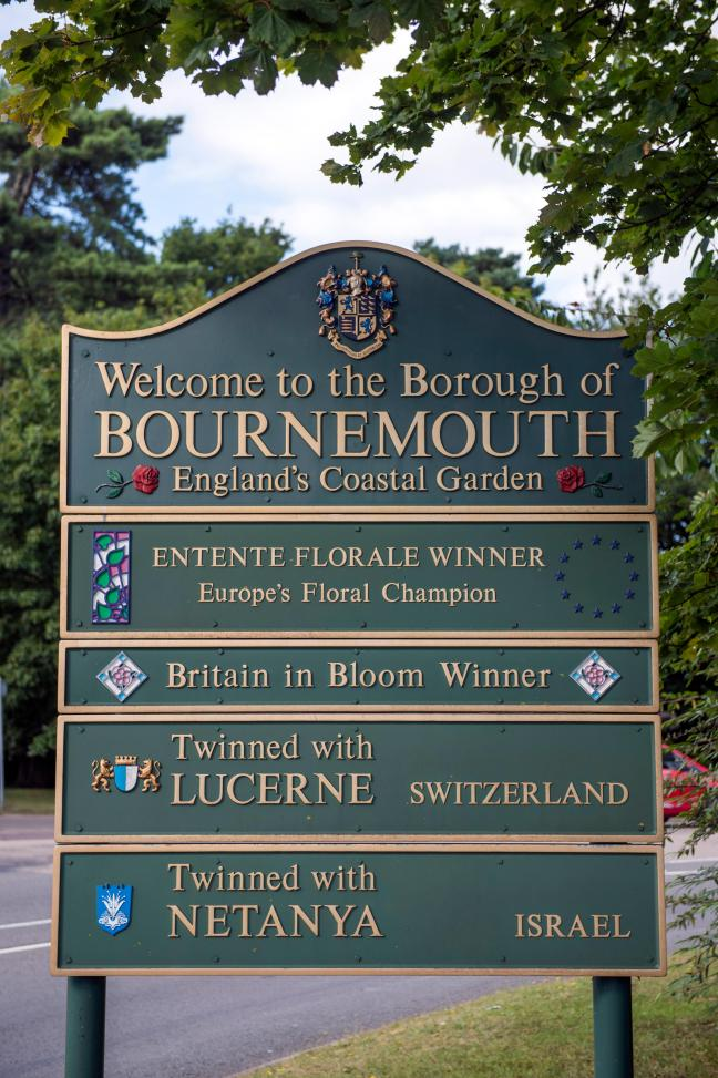 A welcome to Bournemouth sign on the outskirts of the town in Dorset, UK. Image shot 2015. Exact date unknown.